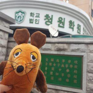 Die Maus steht am Haupteingang der Oberschule.