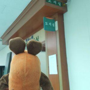 Die Maus geht in die Bibliothek.