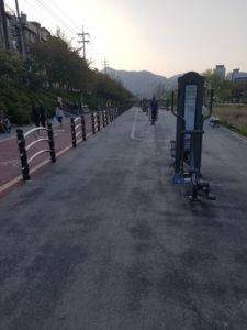 Am Radweg gibt es viele Sportgeräte.