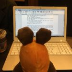 Die Maus macht Hausaufgaben.